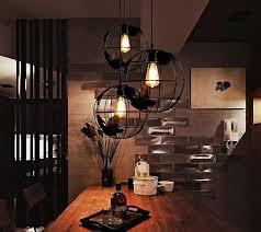 Pendant Lighting Vintage Indoor Lighting Vintage Pendant Lights Globe Iron Cage Lampshade