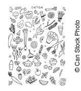 eps vectors of salad leaf and vegetable greens sketch set design