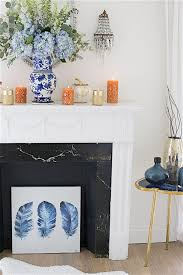 fall mantel decorating ideas in blue shabbyfufu