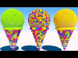 learning colors with 3d cone ice cream for kids and children youtube
