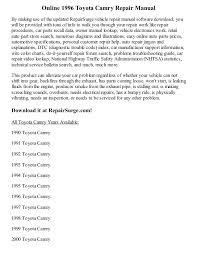 1993 toyota camry repair manual 1996 toyota camry repair manual