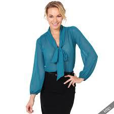 bow tie blouse krisp womens see through chiffon blouse tie sleeve
