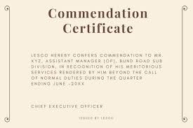 commendation certificate sample and wording semioffice com
