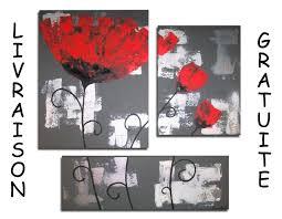 Tableau Abstrait Rouge Et Gris by Tableau Toile Triptyque Fleur Coquelicot Rouge Gris Blanc Design
