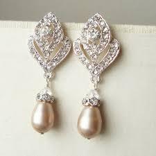 bridesmaid pearl earrings champagne pearl wedding earrings vintage style bridal