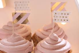 sip and see cupcake toppers pink and gold baby shower decorations