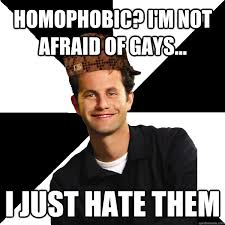 Homophobic Meme - homophobic i m not afraid of gays i just hate them scumbag