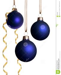 hanging blue ornaments with gold ribbon stock