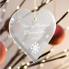Etched Glass Ornaments Personalized Engraved Glass Heart Christmas Ornament Christmas Ornament