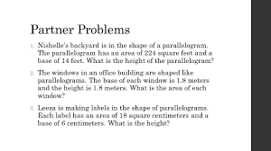 finding the area of a parallelogram swbat find the area of a
