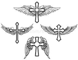 set of the cross with wings stock vector illustration of