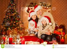 Holiday Living Room Clipart Christmas Family Portrait In Home Holiday Room At Santa Hat Stock