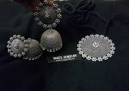 Buy Tribal German Silver Jhumka Jumbo Suryakanthi German Silver Jhumka Necklace Set Macs Jewelry