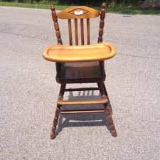 Antique Wood High Chair Best Vintage Wooden High Chair With Remove Able Adjusting Tray