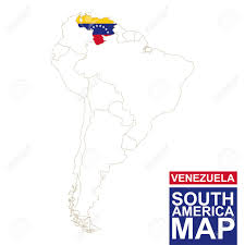 Venezuela Map South America Contoured Map With Highlighted Venezuela Venezuela