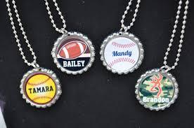bottle cap necklaces 4 personalized sports bottlecap necklace party favorchoose