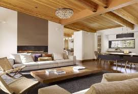 living room wooden ceiling design with white fabric loveseat
