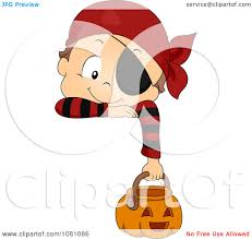 clipart toddler boy in a pirate halloween costume hanging over a
