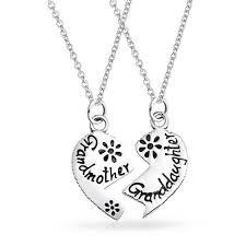 grandmother s necklace 925 silver grandmother granddaughter split heart necklace set 16in