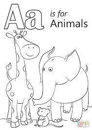 letter a is for animals coloring page free printable coloring pages