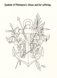 a picture to colour symbols of st philomena manondanielsmassari