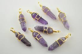 make stone pendant necklace images Gold color metal wire wrapped natural purple stone crystal pillar jpg