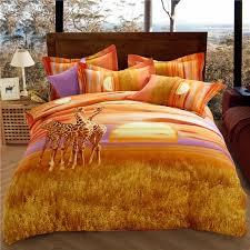 aliexpress com buy wild prairie giraffes orange bedding queen