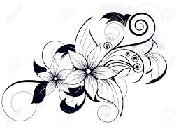 floral design element with swirls for royalty free cliparts