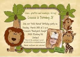 animal wild safari birthday invitations lions trees