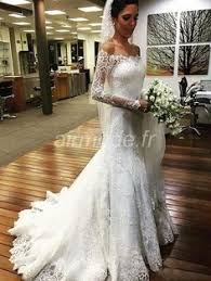 robe de mari e sirene robe de mariée sirène avec manches longues décolleté plongeant