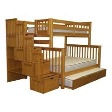 Bedz King Stairway Twin Over Full Bunk Bed With Trundle  Reviews - Full bunk beds