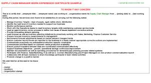 Certification Letter Sle Employment Supply Chain Manager Work Experience Certificate
