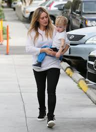 hilary duff takes luca and his temporary tattoo out for lunch