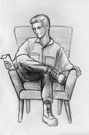 pencil sketch of a man in armchair stock illustration image