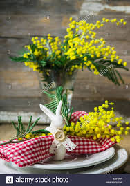Spring Table Settings Spring Festive Dining Table Setting With Yellow Mimosa Flowers
