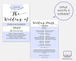 Wedding Bulletin Template Greenery Wedding Program Template