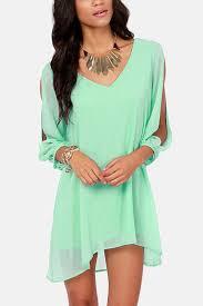 light green dress with sleeves light green slit long sleeve chiffon dress 011609 long sleeve