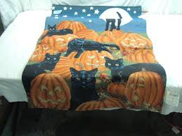 lighted tapestry wall hanging cats pumpkins