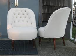 White Leather Accent Chair Furniture Dazzzling Slipper Chairs For Home Furniture Idea