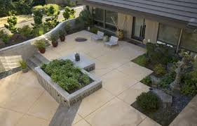 Backyard Steps Ideas Stained And Scored Concrete Patio Ideas With Aggregate Steps How