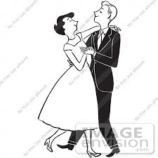 cartoon of a sketch of a formal young couple dancing in black and