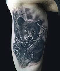picture of little black bear tattoo
