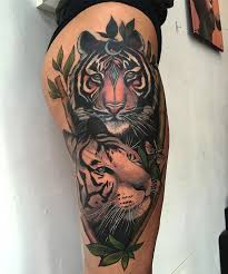 neo traditional tiger for on thigh s