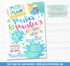 printable pool party chalkboard birthday invitation water park