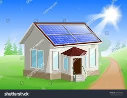 energy house house solar panels on roof alternative stock vector 392545408