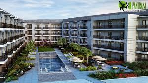 3d courtyard residential exterior design yantram architectural