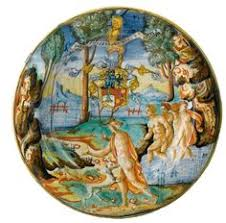 Ateon Schotel Veelkleurig Beschilderd Met Actaeon En Diana En Tekst