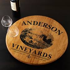 personalized serving plate personalized barrel lazy susan with vineyard graphic wine