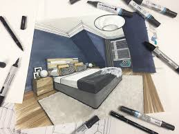 Bedroom Design Drawings Interior Design Rendering Of Master Bedroom Using Pro Marker