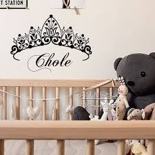 compare prices on crown wall decals online shopping buy low price girls name wall sticker baby nursery name crown wall decal girls name stickers for kids room